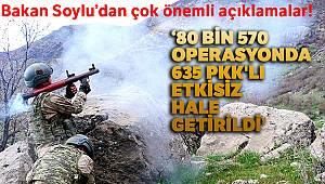 Bakan Soylu: 'Yıl başından beri 80 bin 570 operasyonlarda 635 PKK'lı etkisiz hale getirildi'