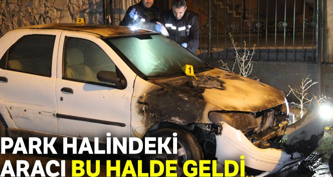 Karaman'da park halindeki otomobil yandı
