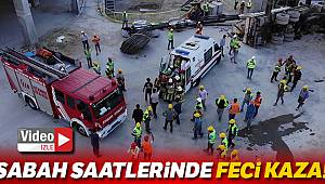 Bağcılar'da vinç kamyonu devrildi