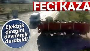Öğrenci servisi ile kamyonun çarpıştığı feci kaza kamerada