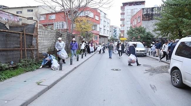 80 genç, Kanarya Mahallesi'nde atık topladı