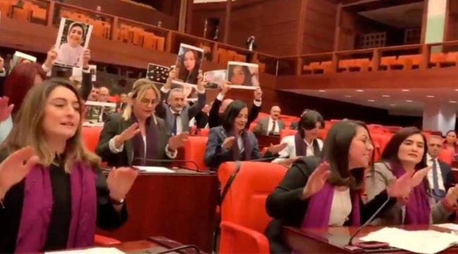 CHP'li ve HDP'li kadın vekiller Meclis'te Las Tesis eylemi yaptı