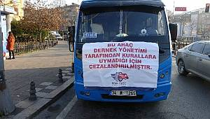 Kurallara uymayan minibüs şoförlerine pankartlı ceza
