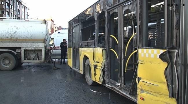 Sultangazi'de su tankeriyle halk otobüsü çarpıştı