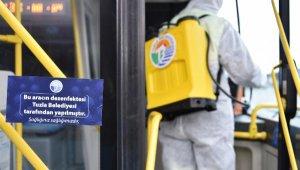Tuzla'da ortak kullanım noktalarında dezenfekte işlemleri devam ediyor
