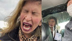 Alkollü kadın taksiciye zor anlar yaşattı